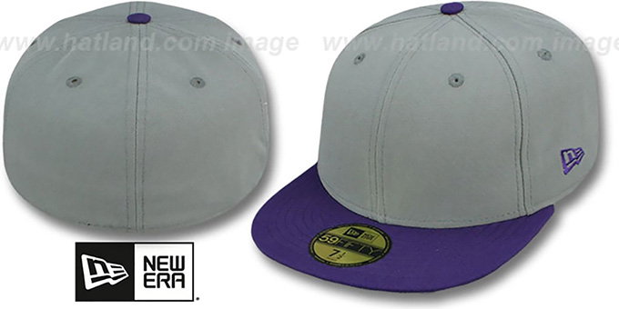 New Era '2T 59FIFTY-BLANK' Grey-Purple Fitted Hat : pictured without stickers that these products are shipped with