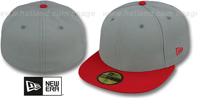 New Era '2T 59FIFTY-BLANK' Grey-Red Fitted Hat : pictured without stickers that these products are shipped with