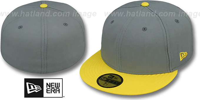 New Era '2T 59FIFTY-BLANK' Grey-Yellow Fitted Hat : pictured without stickers that these products are shipped with