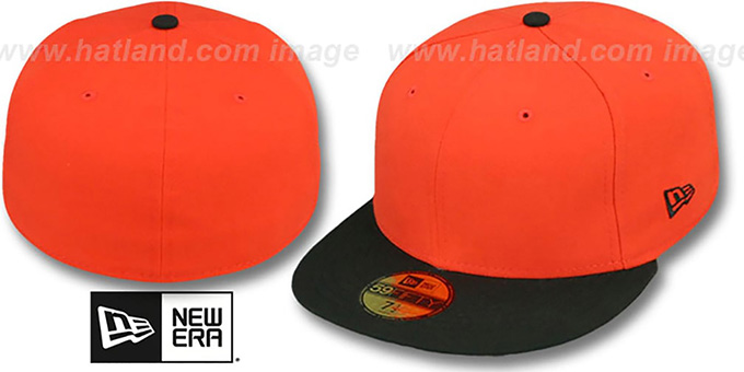 New Era '2T 59FIFTY-BLANK' Orange-Black Fitted Hat : pictured without stickers that these products are shipped with