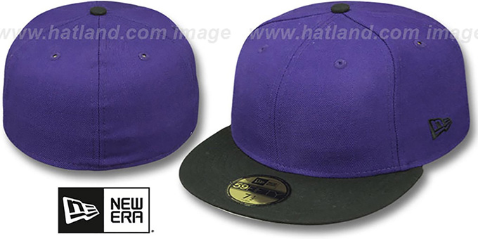 New Era '2T 59FIFTY-BLANK' Purple-Black Fitted Hat : pictured without stickers that these products are shipped with