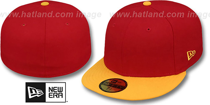 New Era '2T 59FIFTY-BLANK' Red-Gold Fitted Hat : pictured without stickers that these products are shipped with