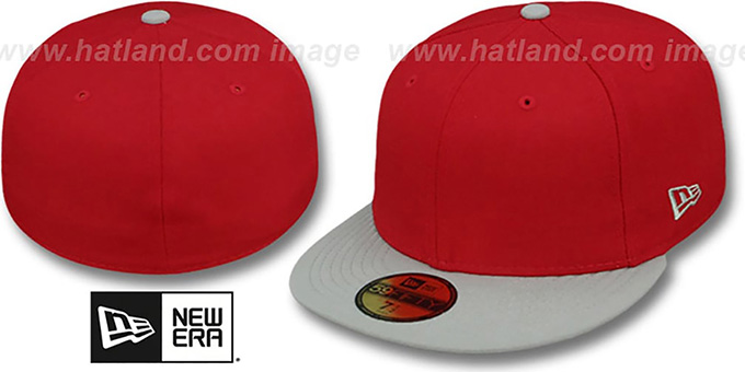 New Era '2T 59FIFTY-BLANK' Red-Grey Fitted Hat : pictured without stickers that these products are shipped with
