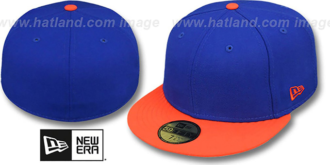 New Era '2T 59FIFTY-BLANK' Royal-Orange Fitted Hat : pictured without stickers that these products are shipped with