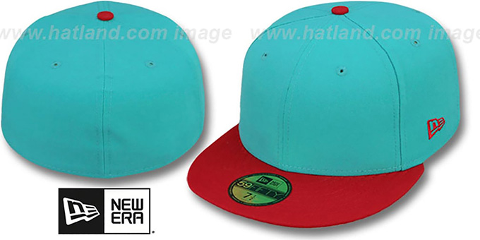 New Era '2T 59FIFTY-BLANK' Teal-Red Fitted Hat : pictured without stickers that these products are shipped with