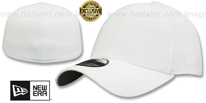 New Era '39THIRTY-BLANK' White Flex Fitted Hat