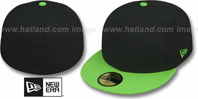 New Era '59FIFTY-BLANK' 2T Black-Lime Fitted Hat : pictured without stickers that these products are shipped with