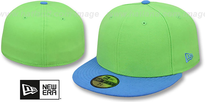 New Era '59FIFTY-BLANK' 2T Lime-Blue Fitted Hat : pictured without stickers that these products are shipped with
