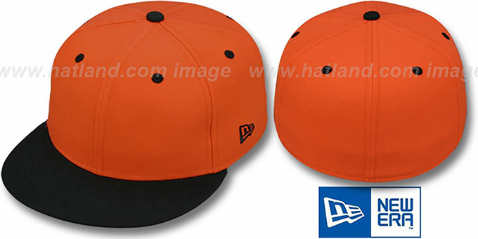 New Era '59FIFTY-BLANK' 2T Orange-Black Fitted Hat : pictured without stickers that these products are shipped with