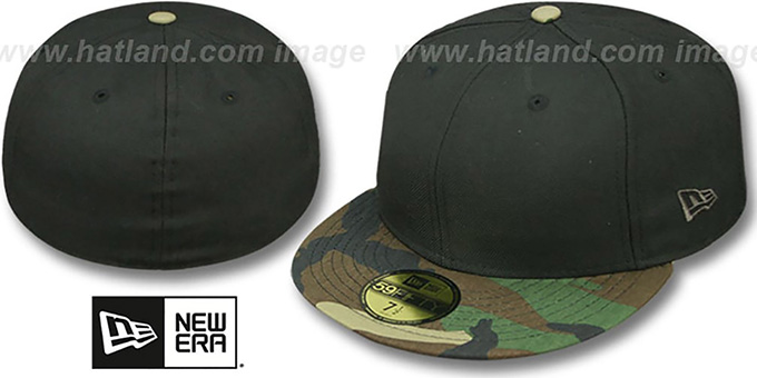 New Era '59FIFTY-BLANK' Black-Army Camo Fitted Hat : pictured without stickers that these products are shipped with