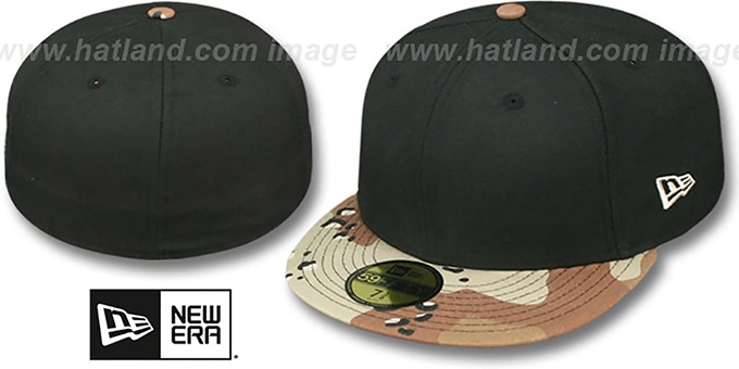 New Era '59FIFTY-BLANK' Black-Desert Storm Fitted Hat : pictured without stickers that these products are shipped with
