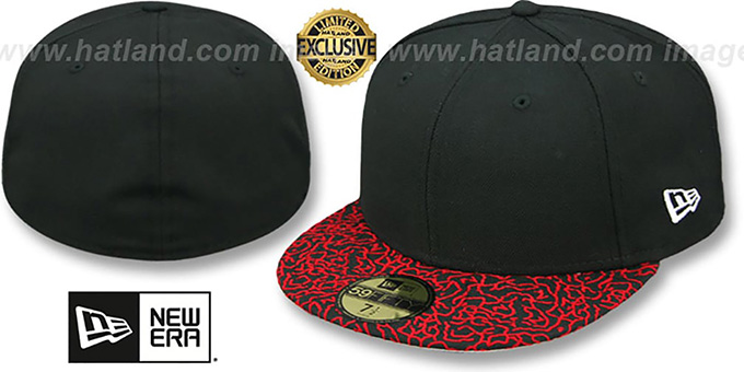 New Era '59FIFTY-BLANK' Black-Red Elephant Fitted Hat