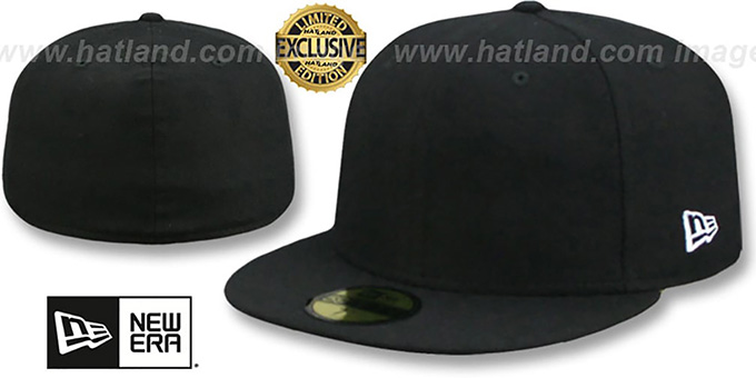 New Era '59FIFTY-BLANK' Melton Black Fitted Hat : pictured without stickers that these products are shipped with