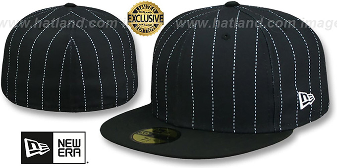 8be59377fb34b New Era  59FIFTY-BLANK PINSTRIPE  Black-White Fitted Hat