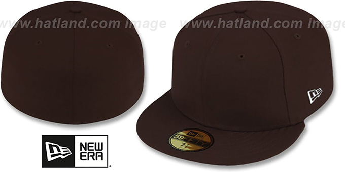 New Era '59FIFTY-BLANK' Solid Brown Fitted Hat : pictured without stickers that these products are shipped with