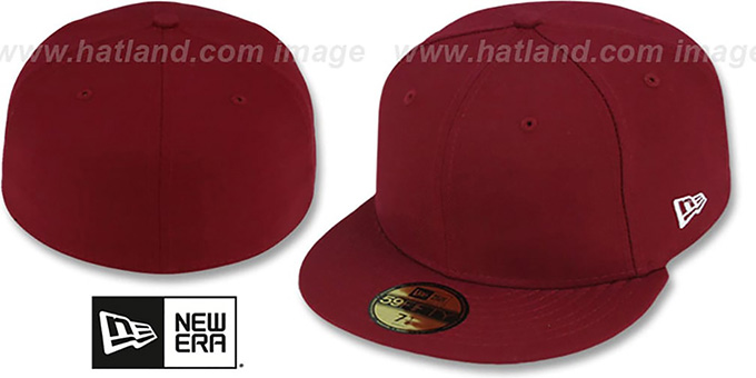 New Era '59FIFTY-BLANK' Solid Burgundy Fitted Hat : pictured without stickers that these products are shipped with