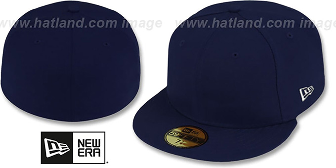 New Era '59FIFTY-BLANK' Dark Navy Fitted Hat : pictured without stickers that these products are shipped with