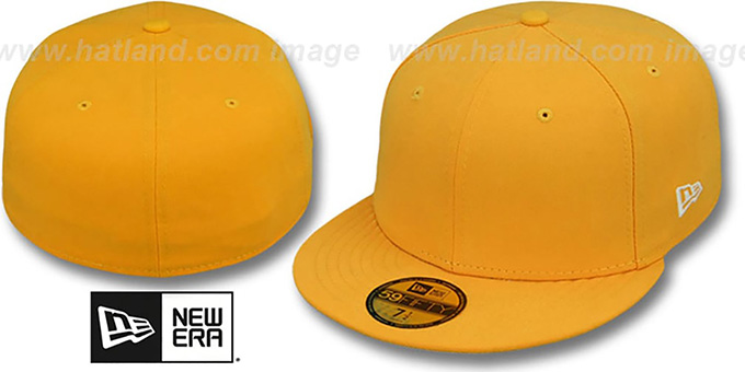 New Era '59FIFTY-BLANK' Solid Gold Fitted Hat : pictured without stickers that these products are shipped with