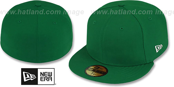 New Era '59FIFTY-BLANK' Solid Kelly Green Fitted Hat : pictured without stickers that these products are shipped with