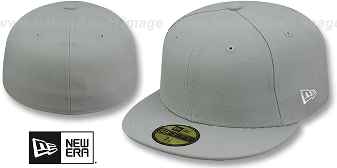 New Era '59FIFTY-BLANK' Solid Light Grey Fitted Hat : pictured without stickers that these products are shipped with