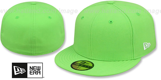 New Era '59FIFTY-BLANK' Solid Lime Fitted Hat : pictured without stickers that these products are shipped with