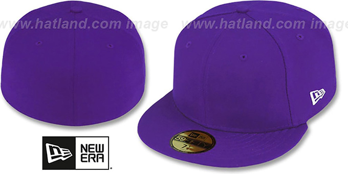 New Era '59FIFTY-BLANK' Solid Purple Fitted Hat : pictured without stickers that these products are shipped with