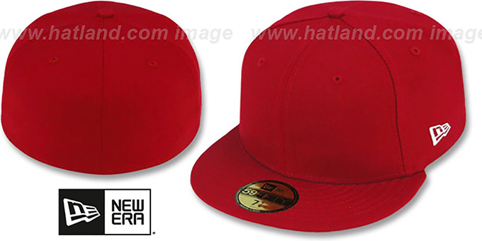 New Era '59FIFTY-BLANK' Solid Red Fitted Hat : pictured without stickers that these products are shipped with