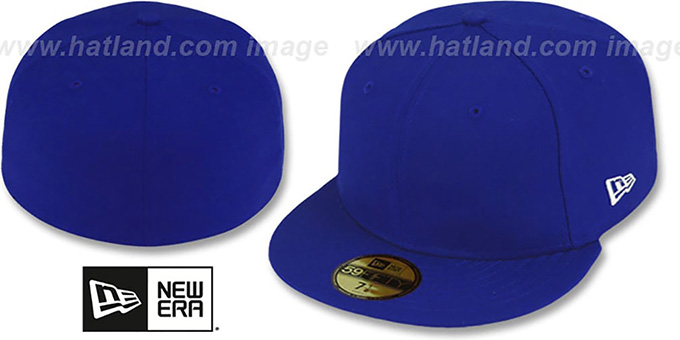 New Era '59FIFTY-BLANK' Solid Royal Fitted Hat : pictured without stickers that these products are shipped with