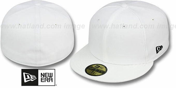 New Era  59FIFTY-BLANK  Solid White Fitted Hat 420c0cefb2c