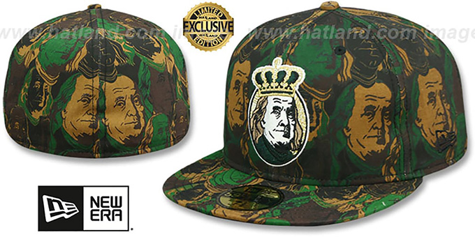 New Era 'BEN FRANKLIN' Army Camo Fitted Hat