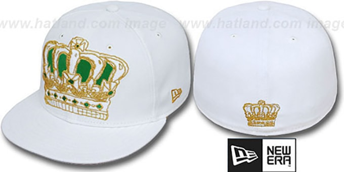 New Era 'BIG-ONE SKETCH CROWN' White-Green Fitted Hat : pictured without stickers that these products are shipped with