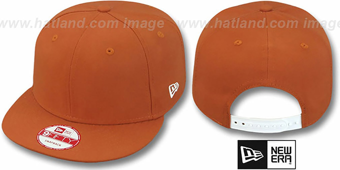 New Era 'BLANK SNAPBACK' Burnt Orange Adjustable Hat : pictured without stickers that these products are shipped with