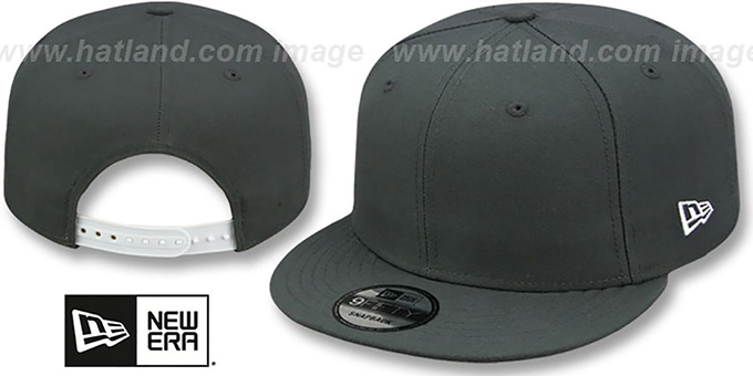 New Era 'BLANK SNAPBACK' Charcoal Grey Adjustable Hat : pictured without stickers that these products are shipped with