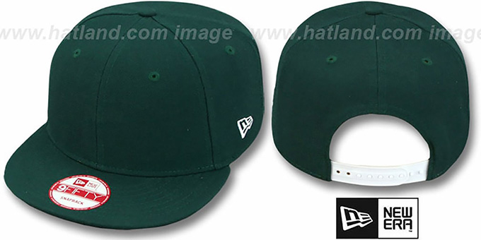New Era 'BLANK SNAPBACK' Dark Green Adjustable Hat : pictured without stickers that these products are shipped with
