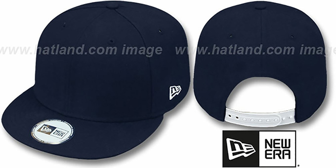 New Era 'BLANK SNAPBACK' Dark Navy Adjustable Hat : pictured without stickers that these products are shipped with
