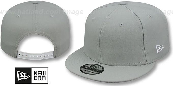 New Era 'BLANK SNAPBACK' Light Grey Adjustable Hat : pictured without stickers that these products are shipped with