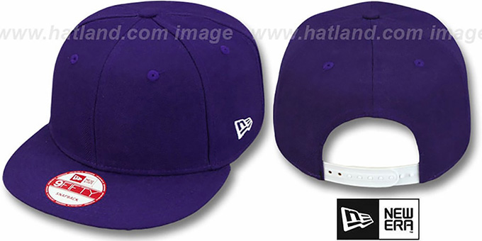 New Era 'BLANK SNAPBACK' Purple Adjustable Hat : pictured without stickers that these products are shipped with
