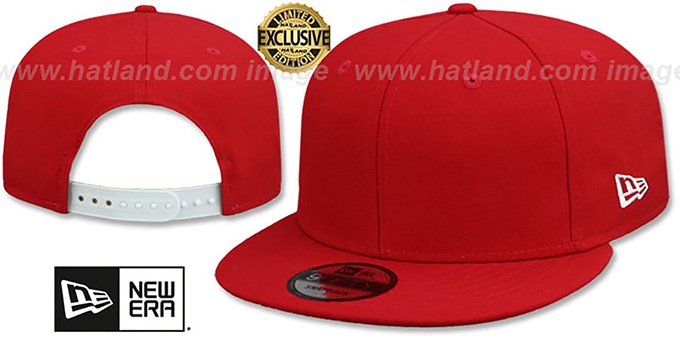 New Era 'BLANK SNAPBACK' Red Adjustable Hat : pictured without stickers that these products are shipped with