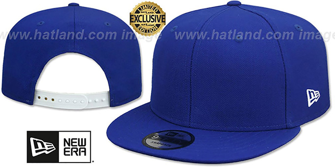 New Era 'BLANK SNAPBACK' Royal Adjustable Hat : pictured without stickers that these products are shipped with
