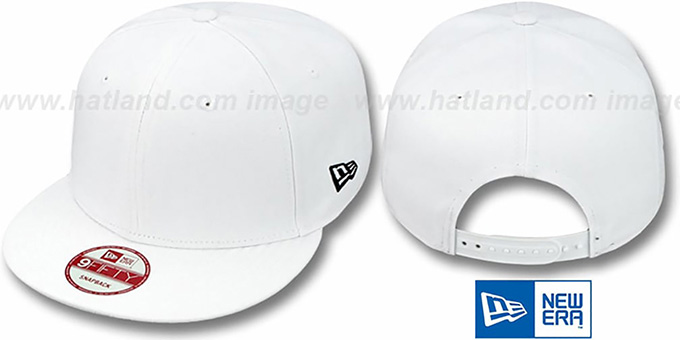 New Era 'BLANK SNAPBACK' White Adjustable Hat : pictured without stickers that these products are shipped with
