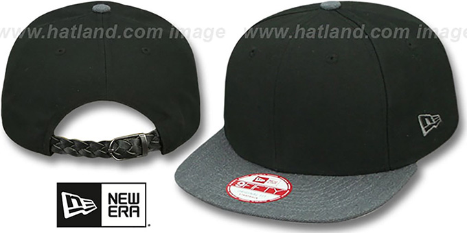 New Era 'BLANK STRAPBACK' Black-Charcoal Adjustable Hat : pictured without stickers that these products are shipped with