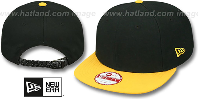 New Era 'BLANK STRAPBACK' Black-Gold Adjustable Hat : pictured without stickers that these products are shipped with