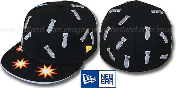 New Era 'BOMBS AWAY' Black Fitted Hat : pictured without stickers that these products are shipped with