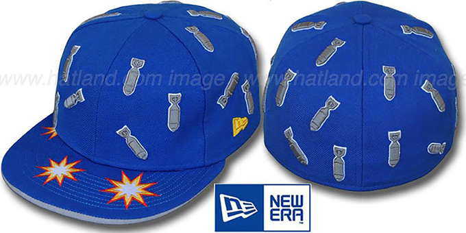 New Era 'BOMBS AWAY' Blue Fitted Hat : pictured without stickers that these products are shipped with