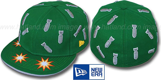 New Era 'BOMBS AWAY' Green Fitted Hat : pictured without stickers that these products are shipped with