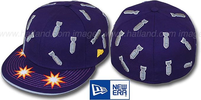 New Era 'BOMBS AWAY' Purple Fitted Hat : pictured without stickers that these products are shipped with
