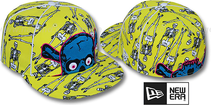 New Era 'C MY SKULL' Yellow Fitted Hat : pictured without stickers that these products are shipped with