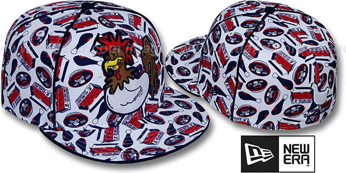 New Era 'CHICKEN ANIMAL CANNIBAL' White Fitted Hat : pictured without stickers that these products are shipped with