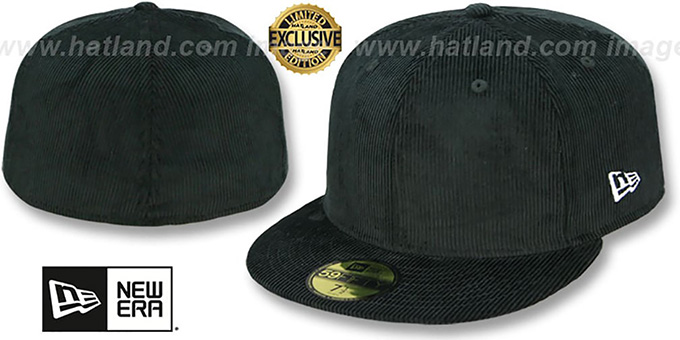 New Era 'CORDUROY 59FIFTY-BLANK' Black Fitted Hat : pictured without stickers that these products are shipped with