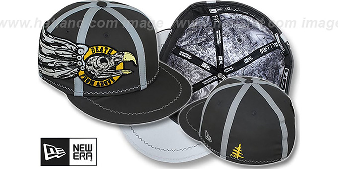 New Era 'DEATH FROM ABOVE' Grey Fitted Hat : pictured without stickers that these products are shipped with